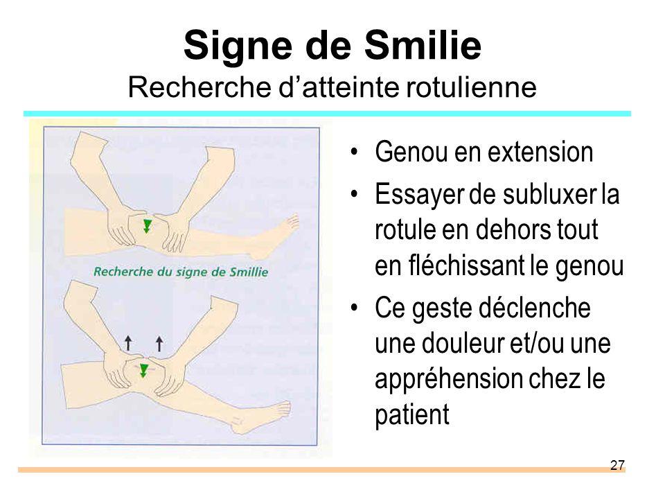 27 Signe de Smilie Recherche datteinte rotulienne Genou en extension Essayer de subluxer la rotule en dehors tout en fléchissant le genou Ce geste déc