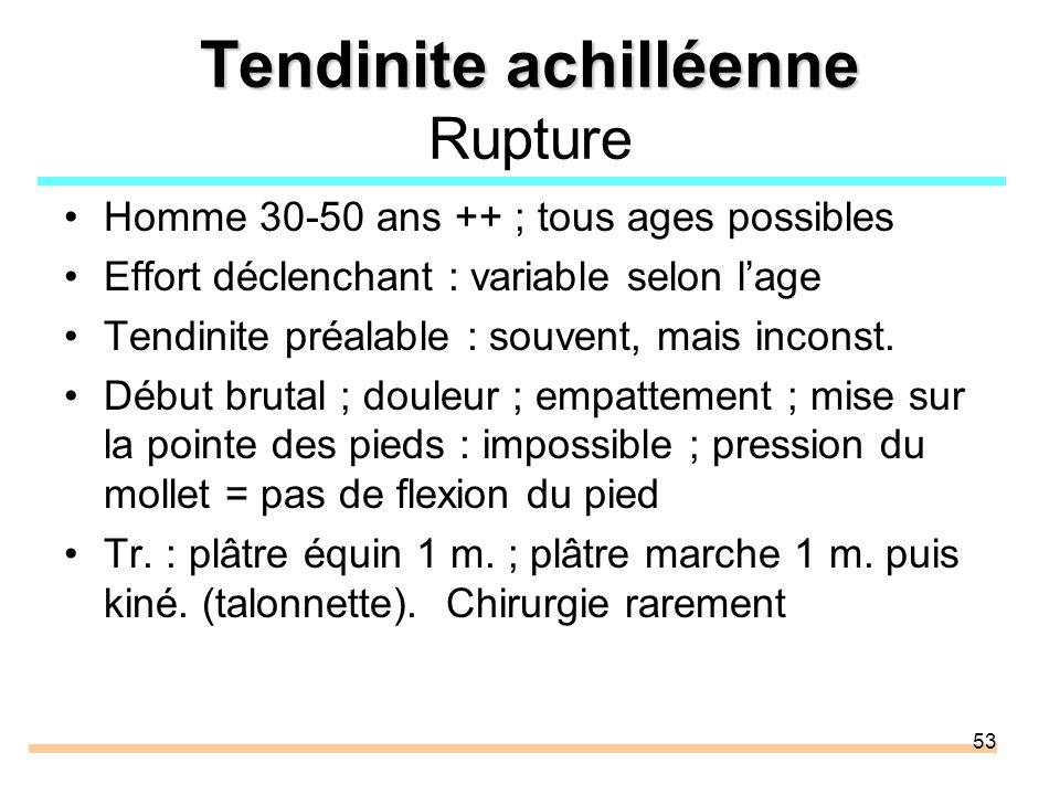 53 Tendinite achilléenne Tendinite achilléenne Rupture Homme 30-50 ans ++ ; tous ages possibles Effort déclenchant : variable selon lage Tendinite pré