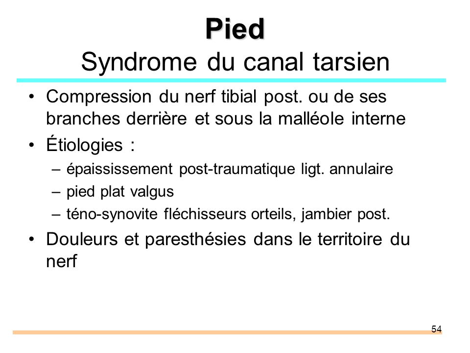 54 Pied Pied Syndrome du canal tarsien Compression du nerf tibial post.
