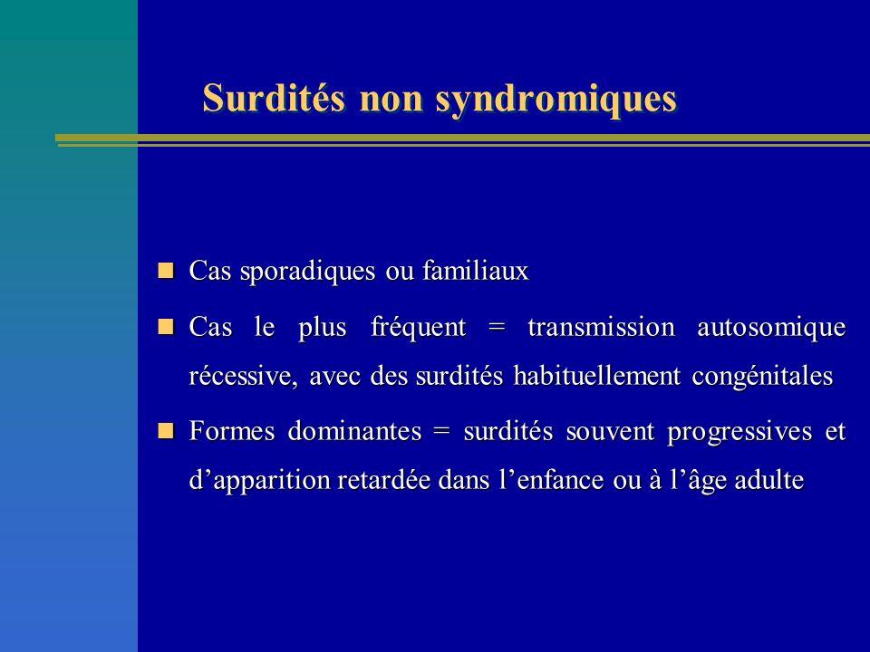 Surdités non syndromiques Cas sporadiques ou familiaux Cas sporadiques ou familiaux Cas le plus fréquent = transmission autosomique récessive, avec de