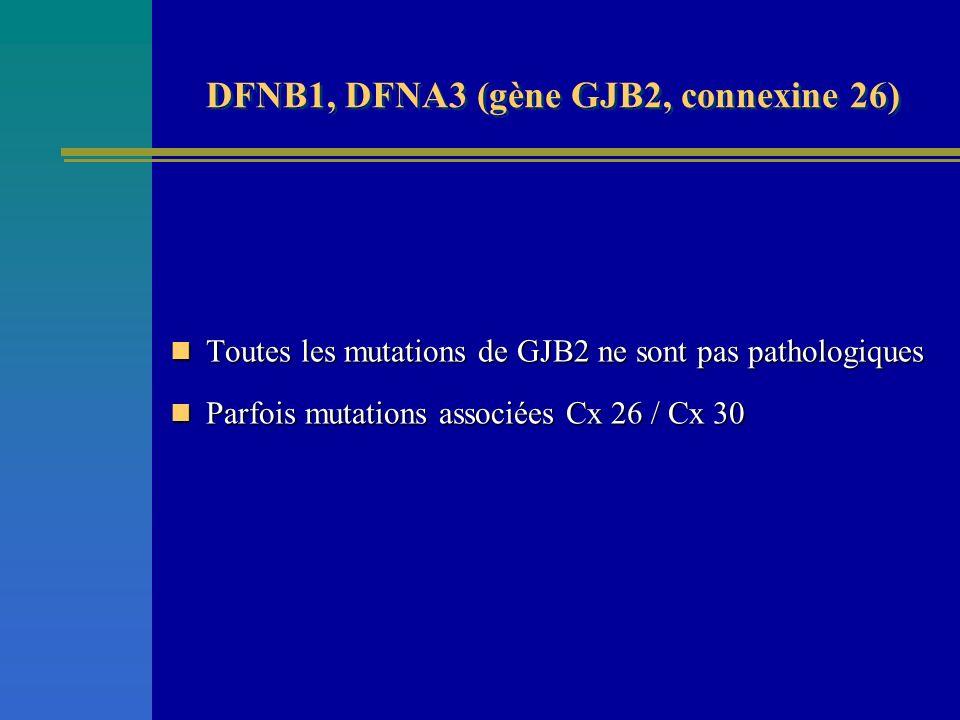 DFNB1, DFNA3 (gène GJB2, connexine 26) Toutes les mutations de GJB2 ne sont pas pathologiques Toutes les mutations de GJB2 ne sont pas pathologiques P