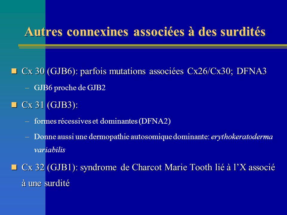 Autres connexines associées à des surdités Cx 30 (GJB6): parfois mutations associées Cx26/Cx30; DFNA3 Cx 30 (GJB6): parfois mutations associées Cx26/C