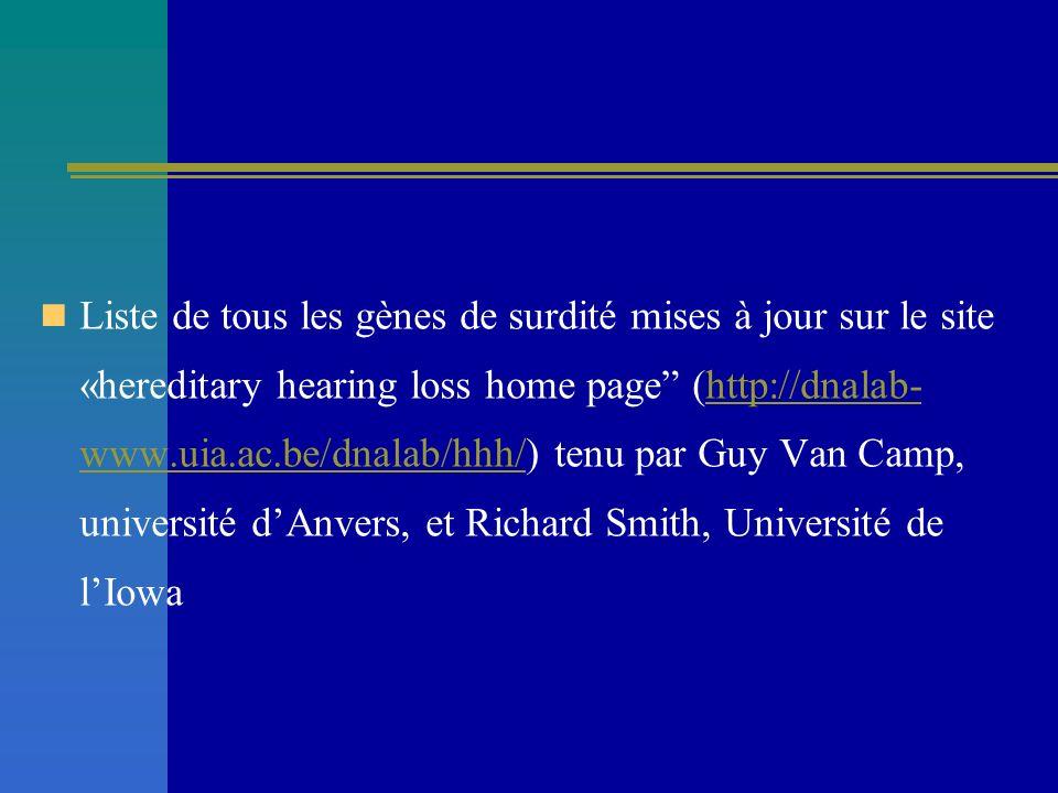 Liste de tous les gènes de surdité mises à jour sur le site «hereditary hearing loss home page (http://dnalab- www.uia.ac.be/dnalab/hhh/) tenu par Guy