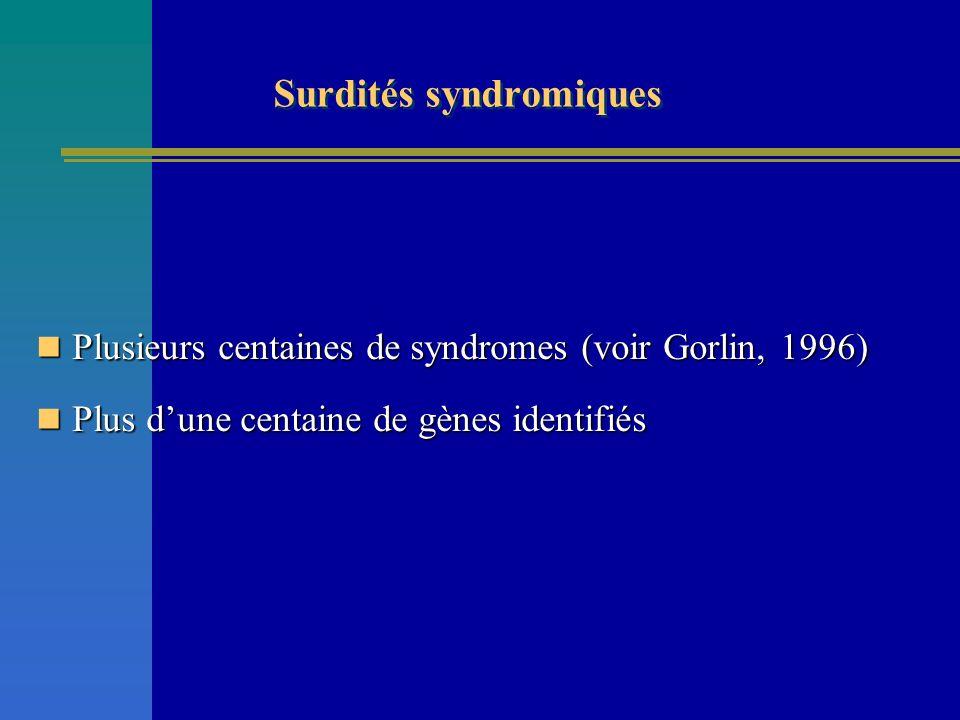 Surdités syndromiques Plusieurs centaines de syndromes (voir Gorlin, 1996) Plusieurs centaines de syndromes (voir Gorlin, 1996) Plus dune centaine de