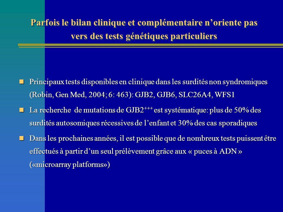 Principaux tests disponibles en clinique dans les surdités non syndromiques (Robin, Gen Med, 2004; 6: 463): GJB2, GJB6, SLC26A4, WFS1 Principaux tests