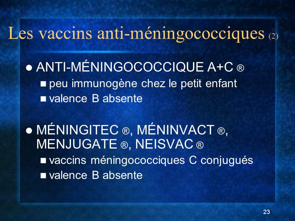 23 Les vaccins anti-méningococciques (2) ANTI-MÉNINGOCOCCIQUE A+C ® peu immunogène chez le petit enfant valence B absente MÉNINGITEC ®, MÉNINVACT ®, MENJUGATE ®, NEISVAC ® vaccins méningococciques C conjugués valence B absente