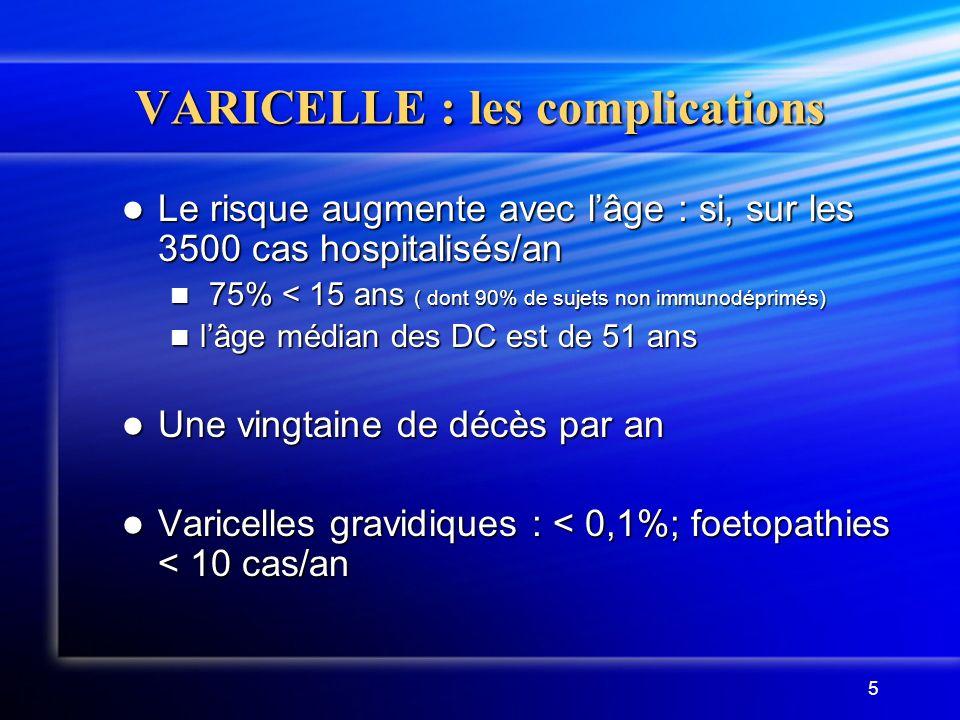 6 VARICELLE : les vaccins VARIVAX ®, VARILRIX ® VARIVAX ®, VARILRIX ® (vaccins vivants atténués) 1 seule dose entre 12 mois et 12 ans 1 seule dose entre 12 mois et 12 ans 2 doses au-delà, avec un intervalle de 6 à 10 semaines entre les deux doses.