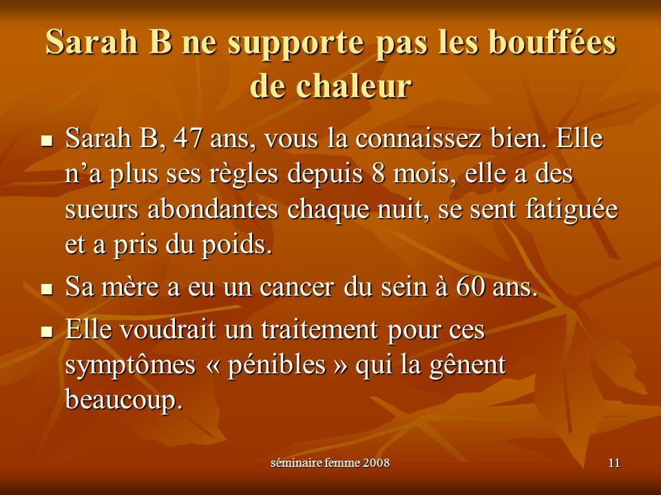 séminaire femme 2008 11 Sarah B ne supporte pas les bouffées de chaleur Sarah B, 47 ans, vous la connaissez bien. Elle na plus ses règles depuis 8 moi