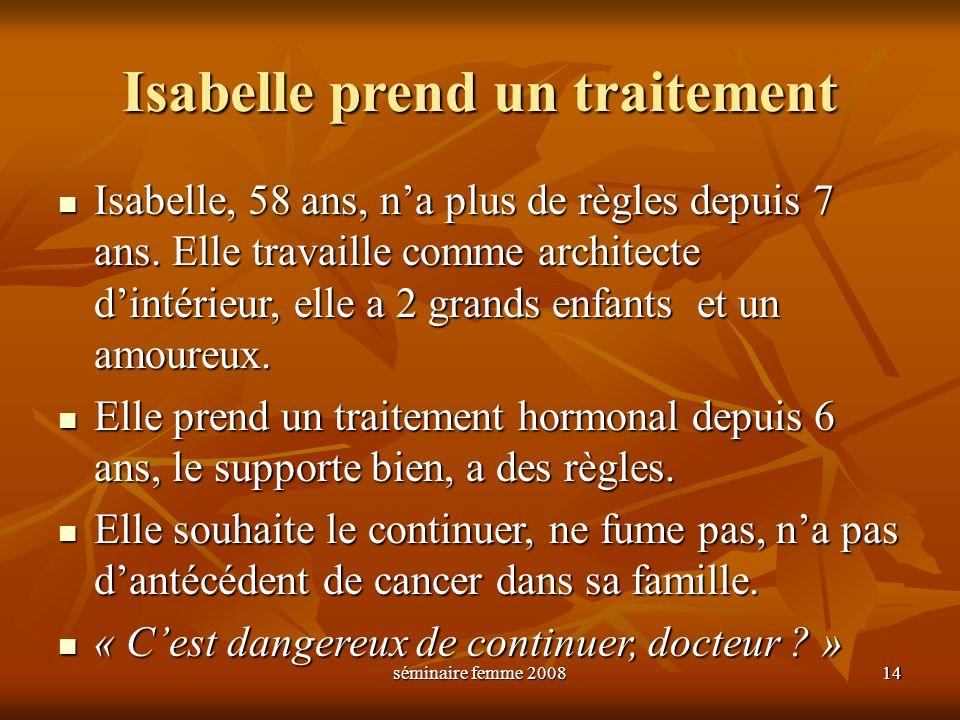 séminaire femme 2008 14 Isabelle prend un traitement Isabelle, 58 ans, na plus de règles depuis 7 ans. Elle travaille comme architecte dintérieur, ell