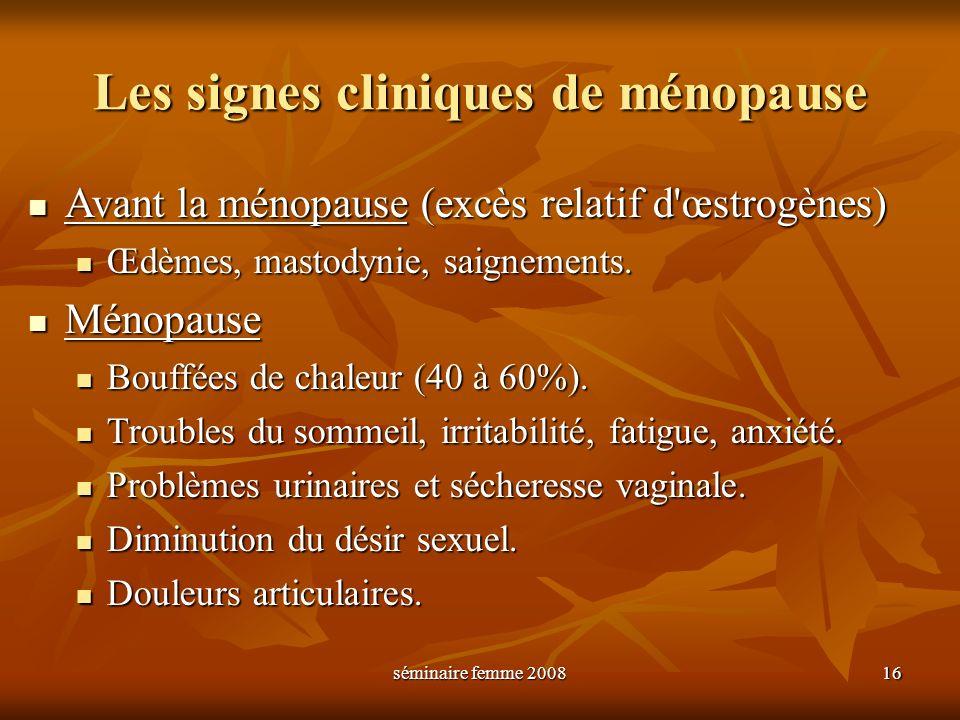 séminaire femme 2008 16 Les signes cliniques de ménopause Avant la ménopause (excès relatif d'œstrogènes) Avant la ménopause (excès relatif d'œstrogèn