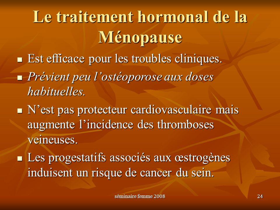 séminaire femme 2008 24 Le traitement hormonal de la Ménopause Est efficace pour les troubles cliniques. Est efficace pour les troubles cliniques. Pré