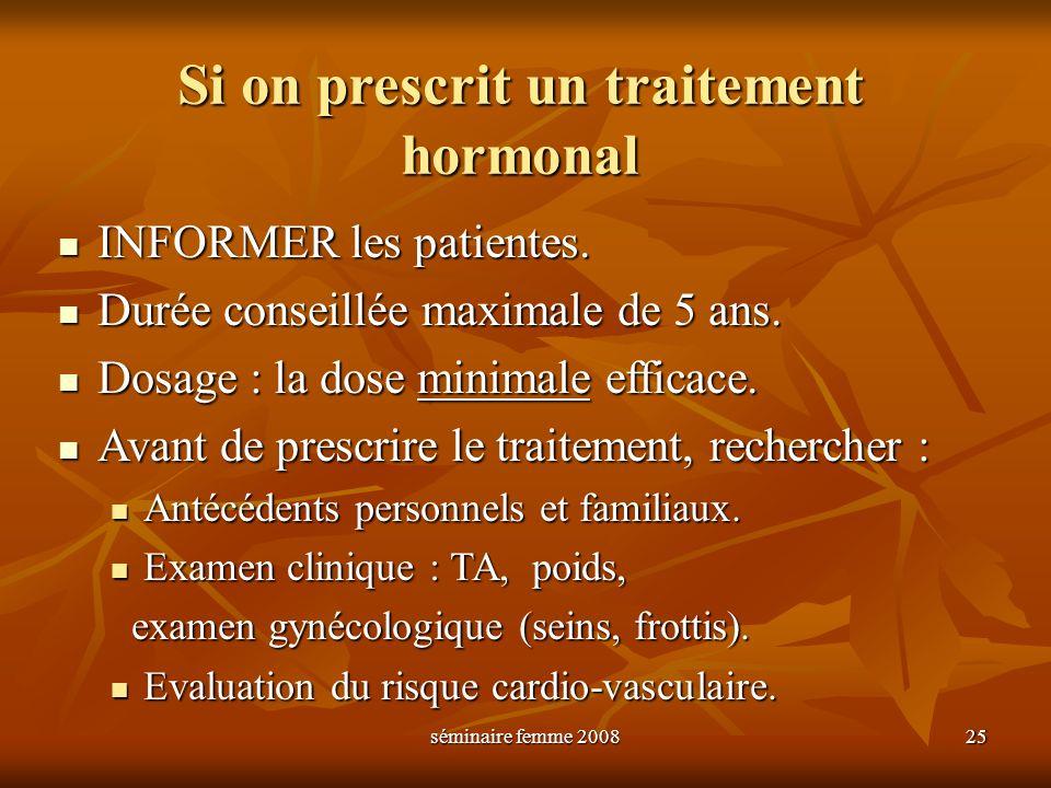 séminaire femme 2008 25 Si on prescrit un traitement hormonal INFORMER les patientes. INFORMER les patientes. Durée conseillée maximale de 5 ans. Duré