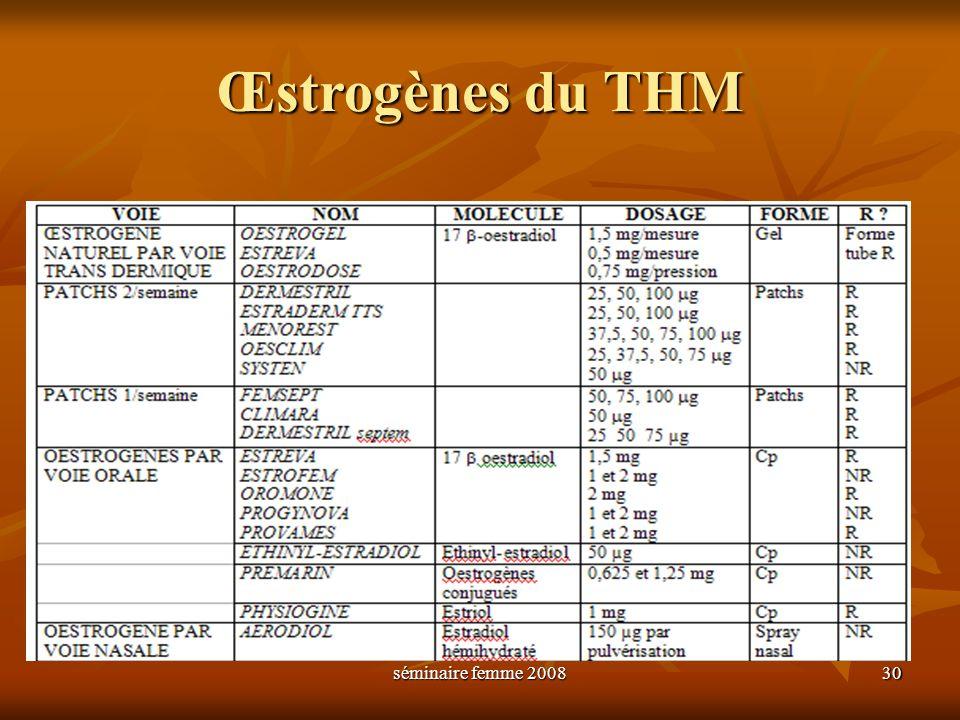 séminaire femme 2008 30 Œstrogènes du THM