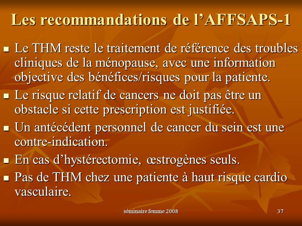 séminaire femme 2008 37 Les recommandations de lAFFSAPS-1 Le THM reste le traitement de référence des troubles cliniques de la ménopause, avec une inf