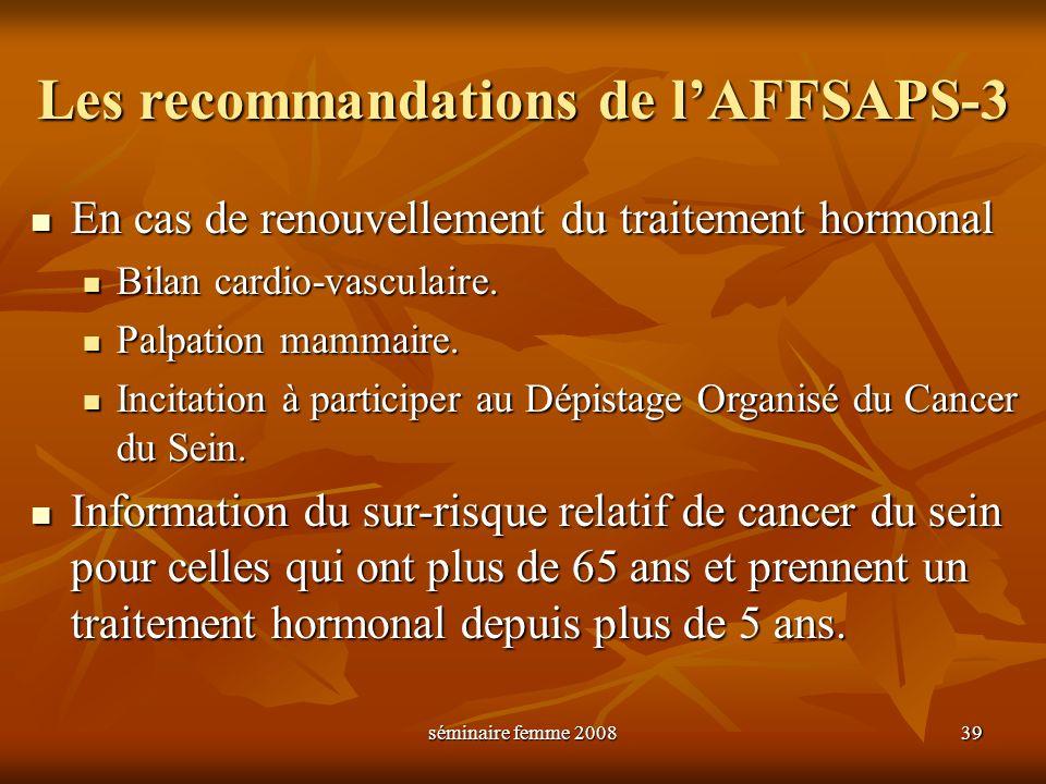 séminaire femme 2008 39 Les recommandations de lAFFSAPS-3 En cas de renouvellement du traitement hormonal En cas de renouvellement du traitement hormo