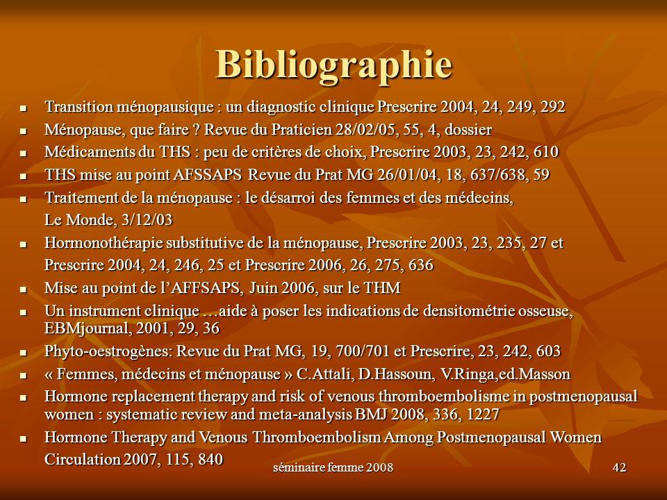 séminaire femme 2008 42 Bibliographie Transition ménopausique : un diagnostic clinique Prescrire 2004, 24, 249, 292 Transition ménopausique : un diagn
