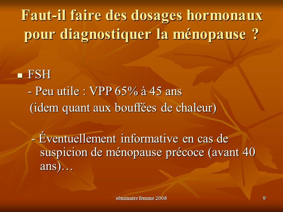séminaire femme 2008 9 Faut-il faire des dosages hormonaux pour diagnostiquer la ménopause ? FSH FSH - Peu utile : VPP 65% à 45 ans (idem quant aux bo