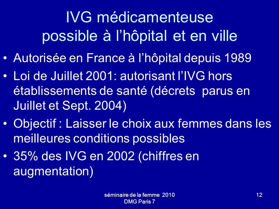 séminaire de la femme 2010 DMG Paris 7 12 IVG médicamenteuse possible à lhôpital et en ville Autorisée en France à lhôpital depuis 1989 Loi de Juillet