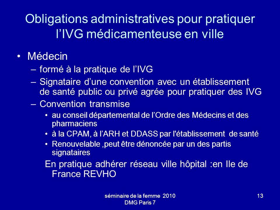 séminaire de la femme 2010 DMG Paris 7 13 Obligations administratives pour pratiquer lIVG médicamenteuse en ville Médecin –formé à la pratique de lIVG