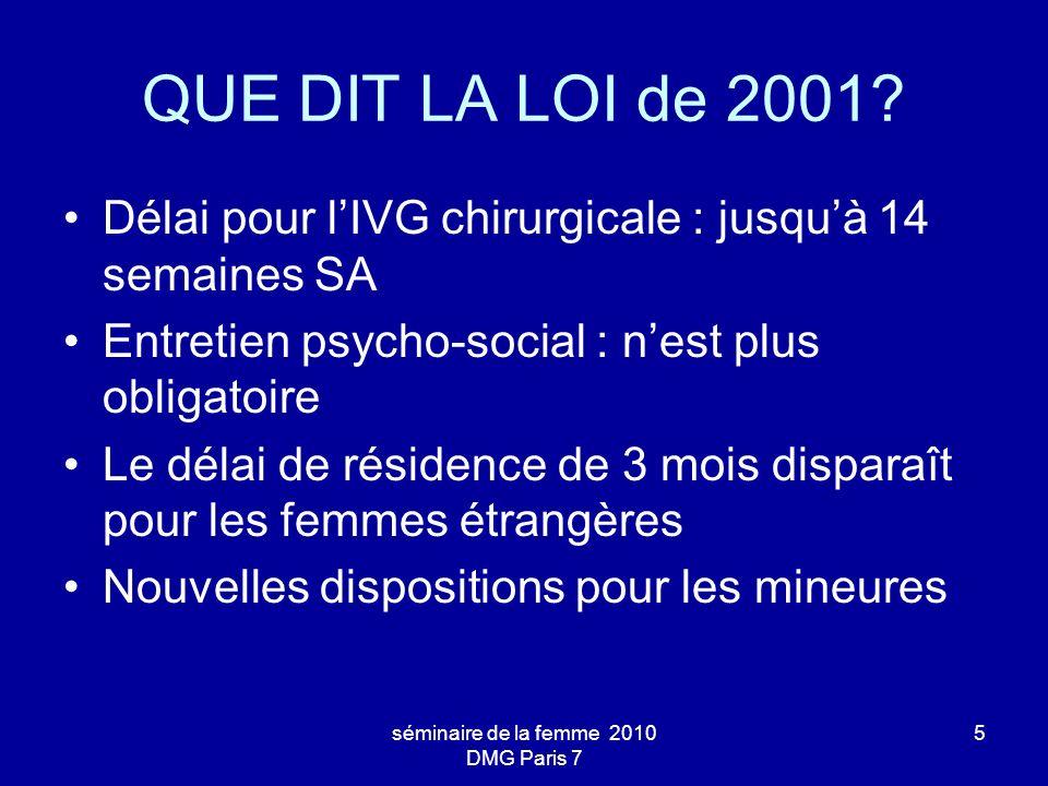séminaire de la femme 2010 DMG Paris 7 5 QUE DIT LA LOI de 2001? Délai pour lIVG chirurgicale : jusquà 14 semaines SA Entretien psycho-social : nest p