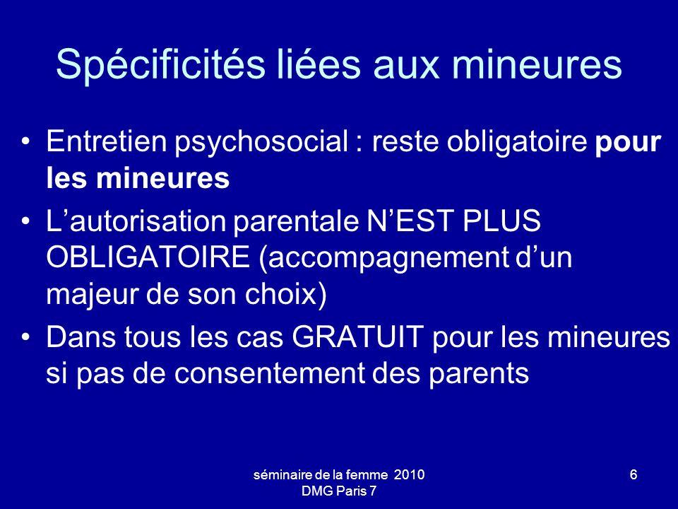 séminaire de la femme 2010 DMG Paris 7 17 Schéma de prescription (ANAES mars 2001) Mifepristone (Mifegyne) –stéroïde de synthèse, agit comme anti-progestérone –1 cp de 200 mg en 1 prise (à J1) Misoprostol (Cytotec ou Gymiso) –prostaglandine, agit sur le myométre en provoquant des contractions utérines –2 cps de 200 mg en 1 prise (à J3) –Si pas dexpulsion dans les 2 à 3 heures suivant la prise de misoprostol, en reprendre 2 cp.
