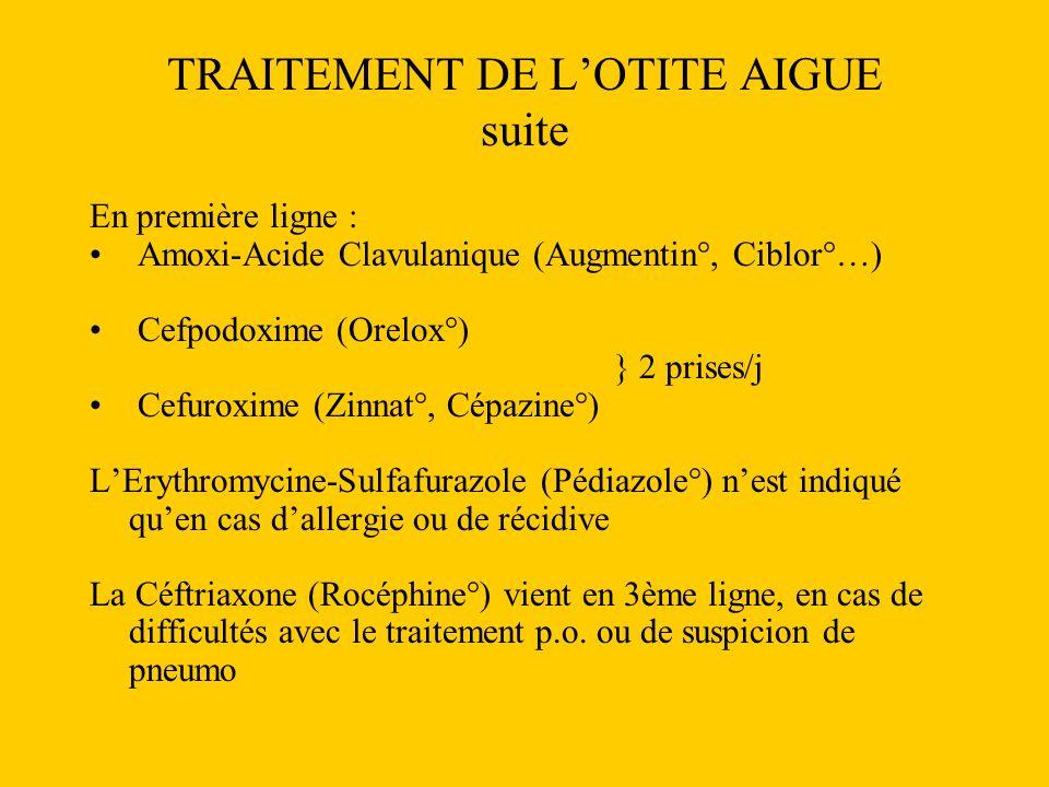 TRAITEMENT DE LOTITE AIGUE suite En première ligne : Amoxi-Acide Clavulanique (Augmentin°, Ciblor°…) Cefpodoxime (Orelox°) } 2 prises/j Cefuroxime (Zi