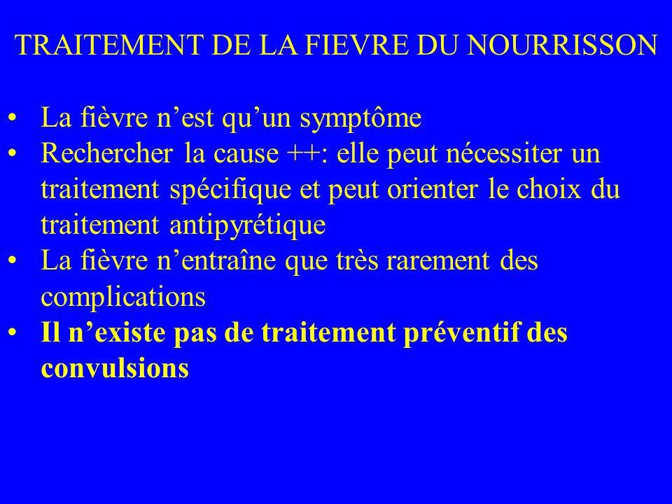 TRAITEMENT DE LA FIEVRE DU NOURRISSON La fièvre nest quun symptôme Rechercher la cause ++: elle peut nécessiter un traitement spécifique et peut orien
