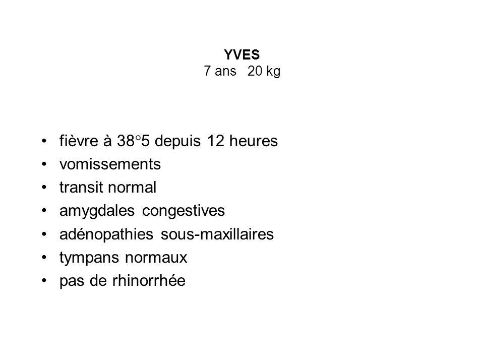 YVES 7 ans 20 kg fièvre à 38°5 depuis 12 heures vomissements transit normal amygdales congestives adénopathies sous-maxillaires tympans normaux pas de