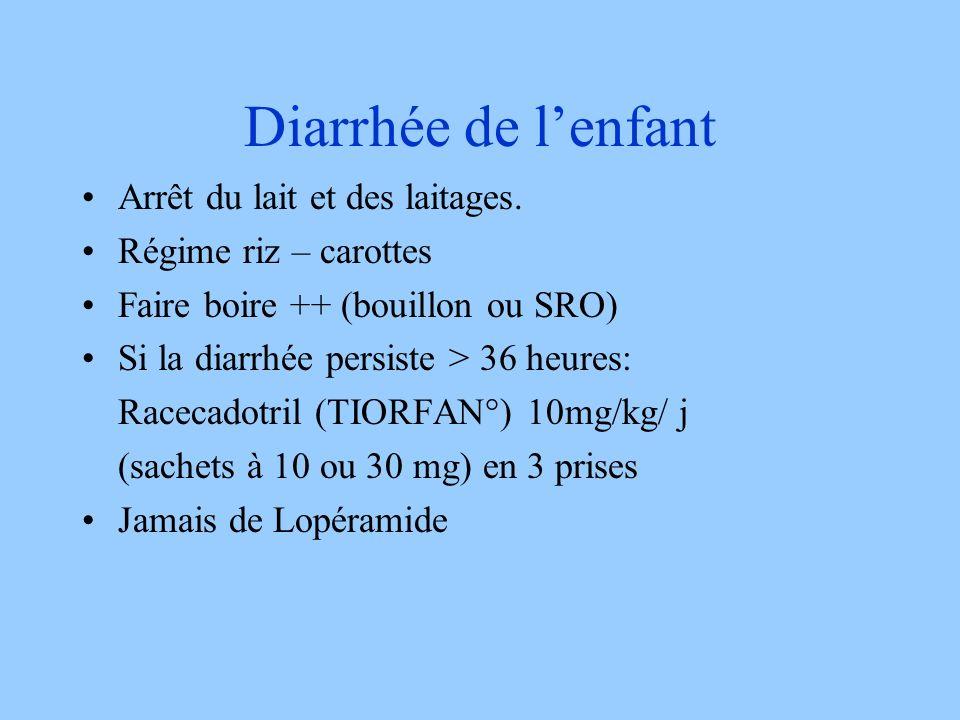 Diarrhée de lenfant Arrêt du lait et des laitages. Régime riz – carottes Faire boire ++ (bouillon ou SRO) Si la diarrhée persiste > 36 heures: Racecad
