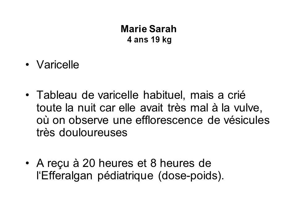 Marie Sarah 4 ans 19 kg Varicelle Tableau de varicelle habituel, mais a crié toute la nuit car elle avait très mal à la vulve, où on observe une efflo