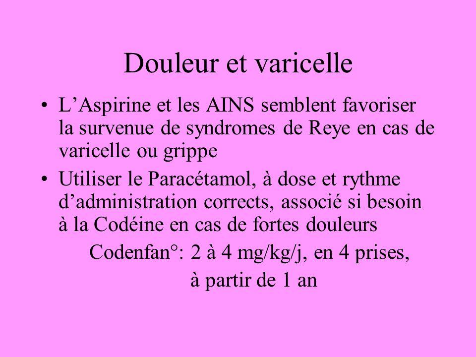 Douleur et varicelle LAspirine et les AINS semblent favoriser la survenue de syndromes de Reye en cas de varicelle ou grippe Utiliser le Paracétamol,