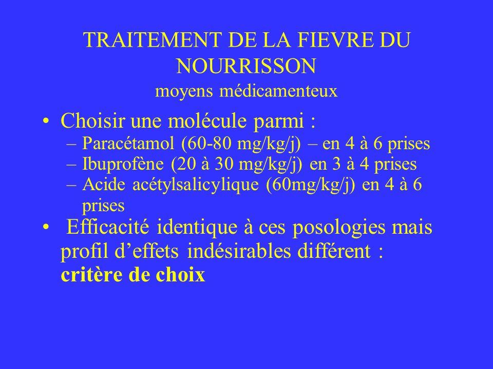 TRAITEMENT DE LA FIEVRE DU NOURRISSON moyens médicamenteux Choisir une molécule parmi : –Paracétamol (60-80 mg/kg/j) – en 4 à 6 prises –Ibuprofène (20