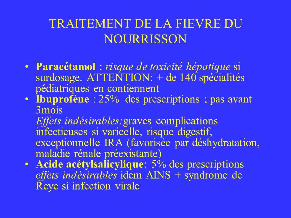 TRAITEMENT DE LA FIEVRE DU NOURRISSON Paracétamol : risque de toxicité hépatique si surdosage. ATTENTION: + de 140 spécialités pédiatriques en contien
