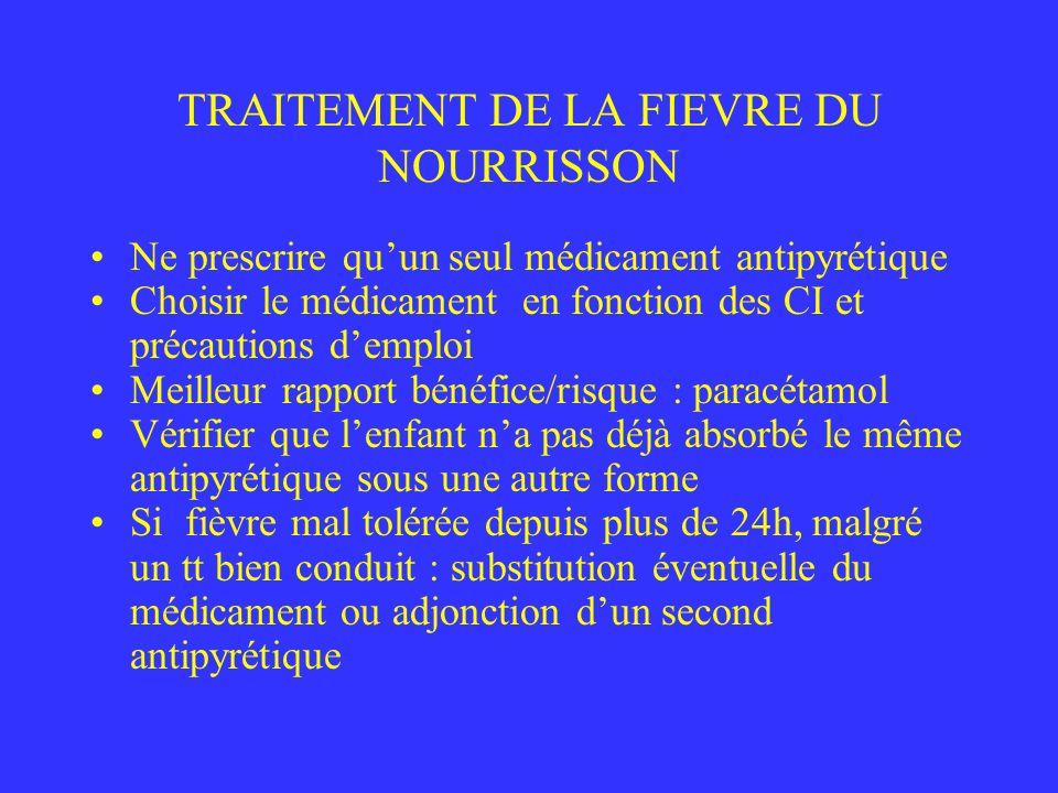 TRAITEMENT DE LA FIEVRE DU NOURRISSON Ne prescrire quun seul médicament antipyrétique Choisir le médicament en fonction des CI et précautions demploi
