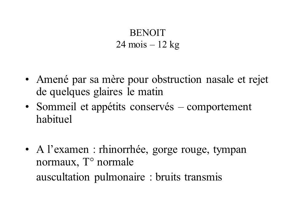 BENOIT 24 mois – 12 kg Amené par sa mère pour obstruction nasale et rejet de quelques glaires le matin Sommeil et appétits conservés – comportement ha