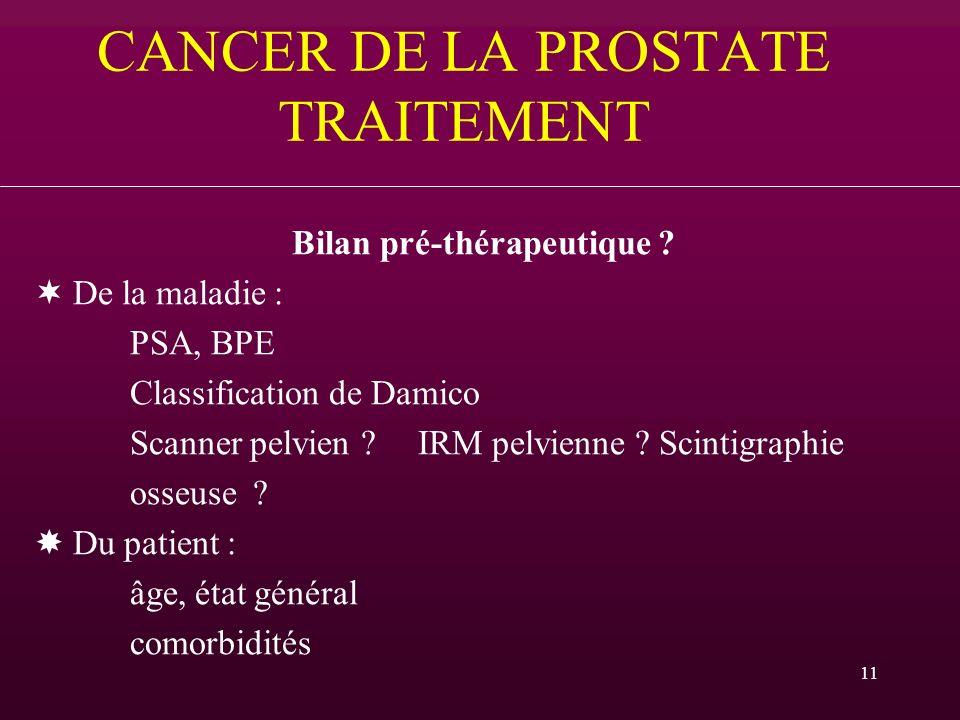 11 CANCER DE LA PROSTATE TRAITEMENT Bilan pré-thérapeutique ? De la maladie : PSA, BPE Classification de Damico Scanner pelvien ?IRM pelvienne ? Scint