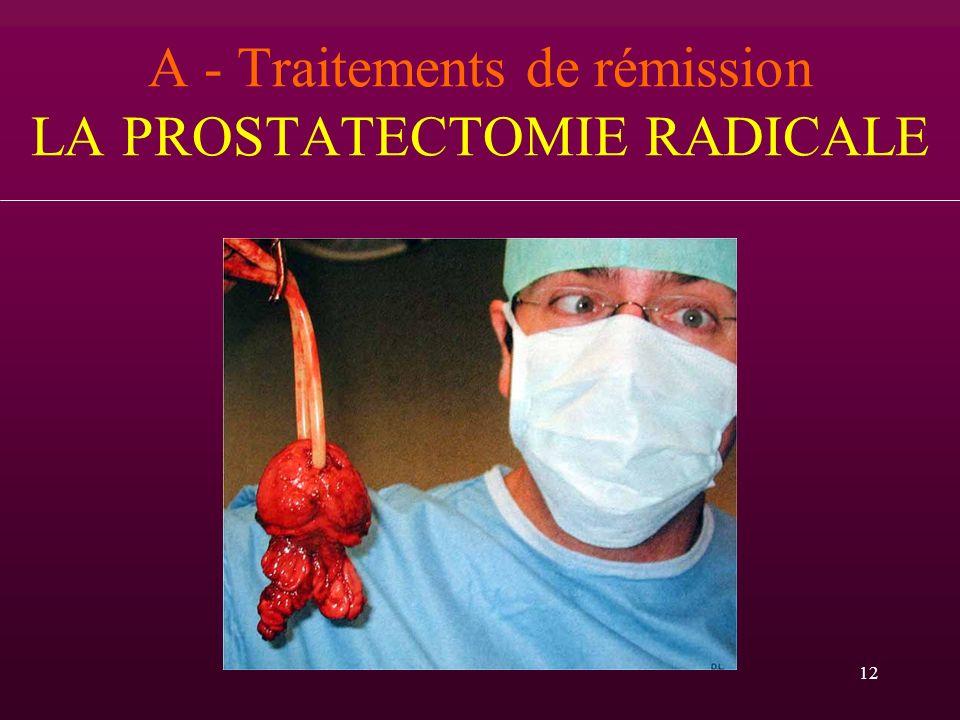 12 A - Traitements de rémission LA PROSTATECTOMIE RADICALE