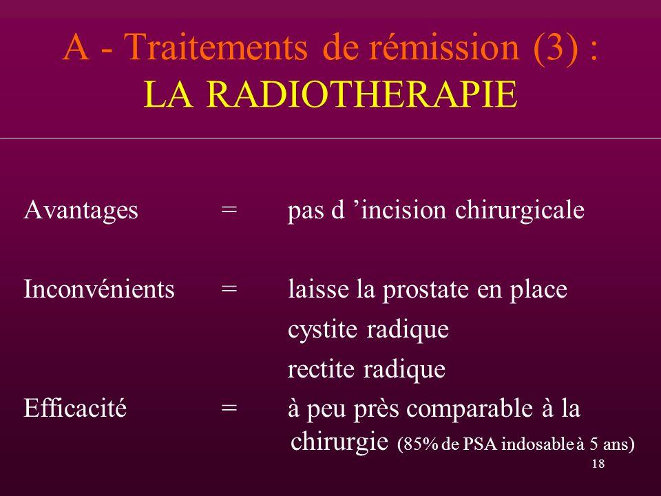 18 A - Traitements de rémission (3) : LA RADIOTHERAPIE Avantages = pas d incision chirurgicale Inconvénients = laisse la prostate en place cystite rad
