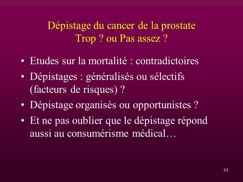 31 Dépistage du cancer de la prostate Trop ? ou Pas assez ? Etudes sur la mortalité : contradictoires Dépistages : généralisés ou sélectifs (facteurs