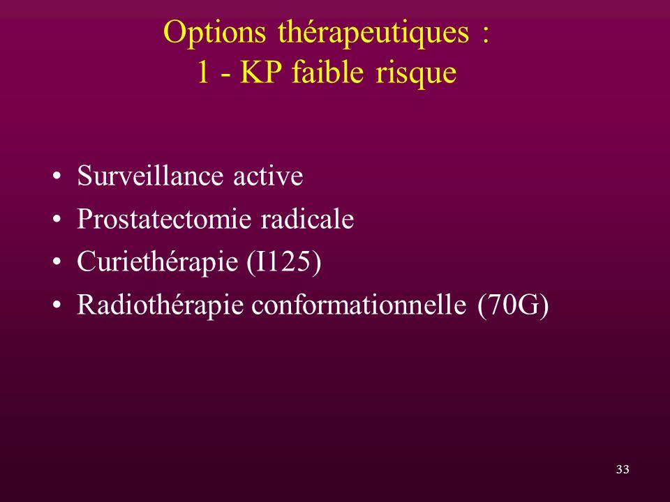 33 Options thérapeutiques : 1 - KP faible risque Surveillance active Prostatectomie radicale Curiethérapie (I125) Radiothérapie conformationnelle (70G
