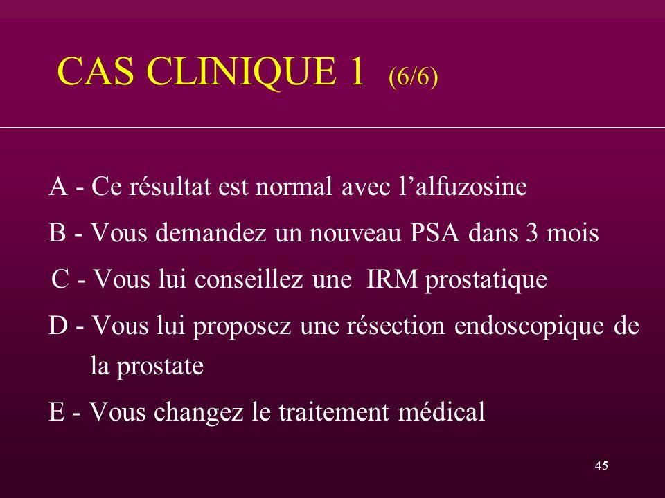 45 CAS CLINIQUE 1 (6/6) A - Ce résultat est normal avec lalfuzosine B - Vous demandez un nouveau PSA dans 3 mois C - Vous lui conseillez une IRM prost