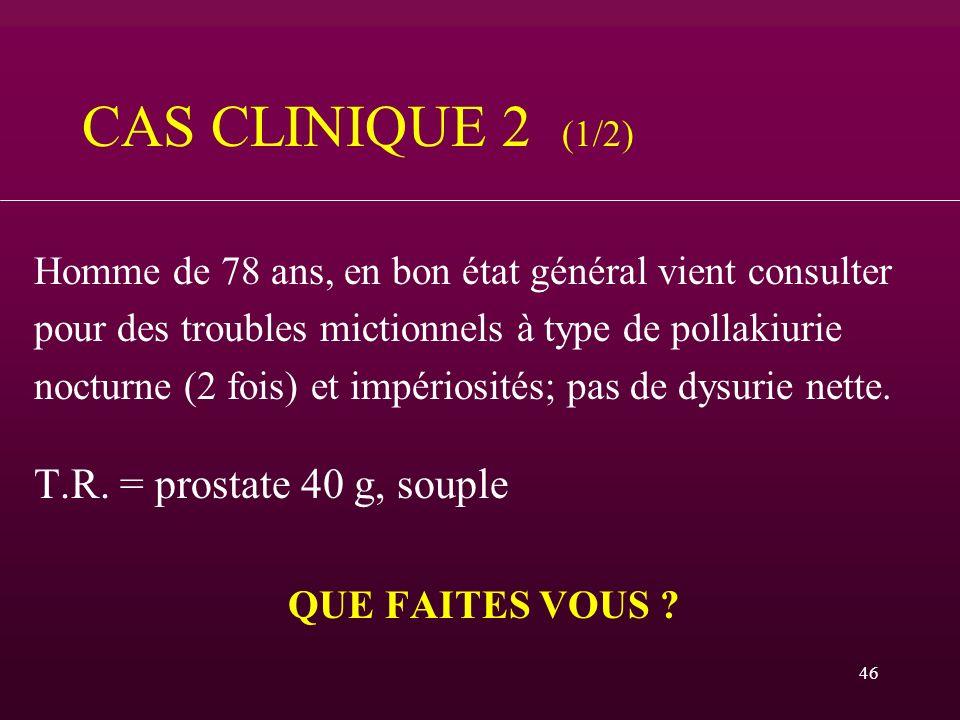 46 CAS CLINIQUE 2 (1/2) Homme de 78 ans, en bon état général vient consulter pour des troubles mictionnels à type de pollakiurie nocturne (2 fois) et