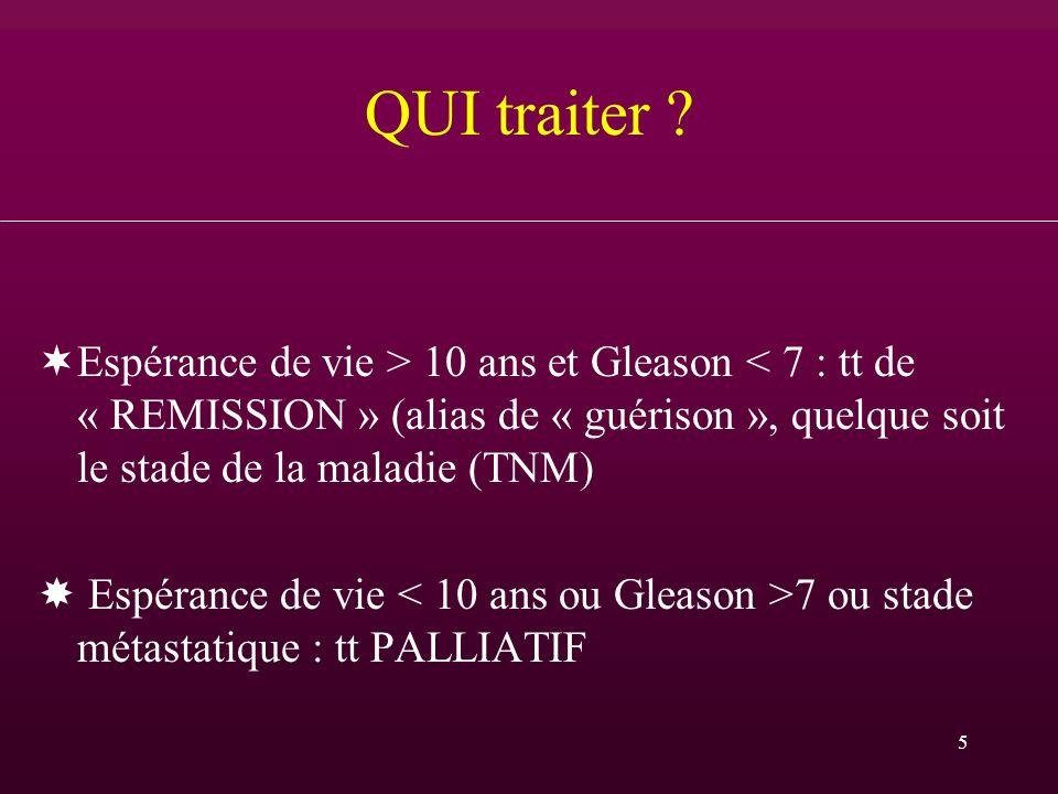 5 QUI traiter ? ¬Espérance de vie > 10 ans et Gleason < 7 : tt de « REMISSION » (alias de « guérison », quelque soit le stade de la maladie (TNM) Espé