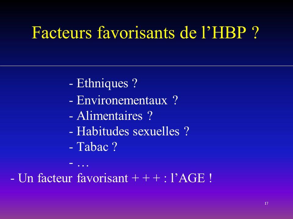 17 Facteurs favorisants de lHBP ? - Ethniques ? - Environementaux ? - Alimentaires ? - Habitudes sexuelles ? - Tabac ? - … - Un facteur favorisant + +
