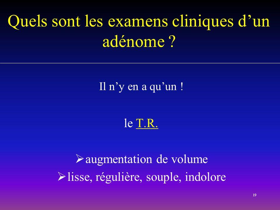 19 Quels sont les examens cliniques dun adénome ? Il ny en a quun ! le T.R. augmentation de volume lisse, régulière, souple, indolore