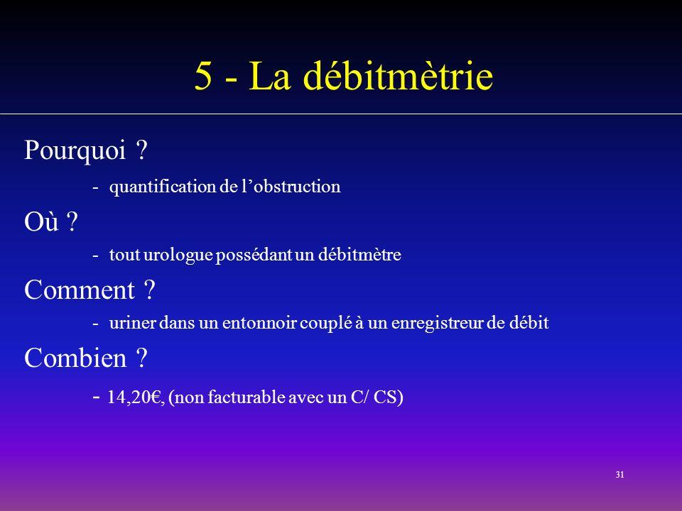 31 5 - La débitmètrie Pourquoi ? -quantification de lobstruction Où ? -tout urologue possédant un débitmètre Comment ? -uriner dans un entonnoir coupl