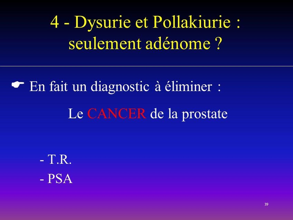 39 4 - Dysurie et Pollakiurie : seulement adénome ? En fait un diagnostic à éliminer : Le CANCER de la prostate - T.R. - PSA
