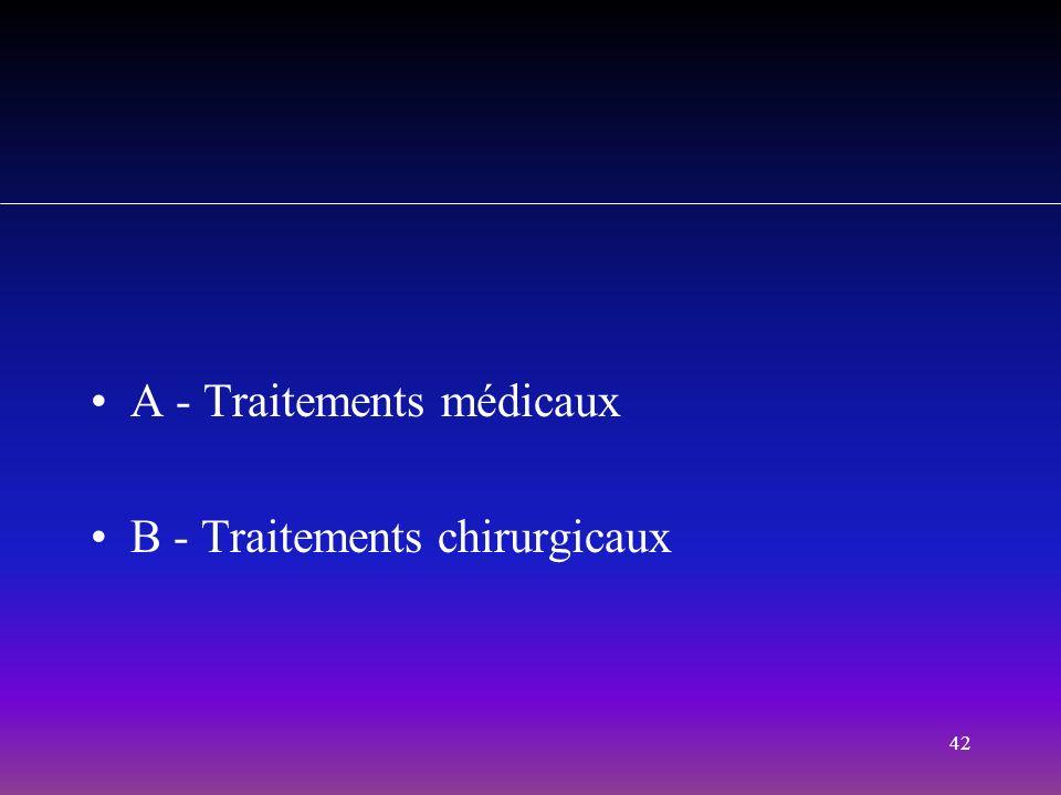 42 A - Traitements médicaux B - Traitements chirurgicaux