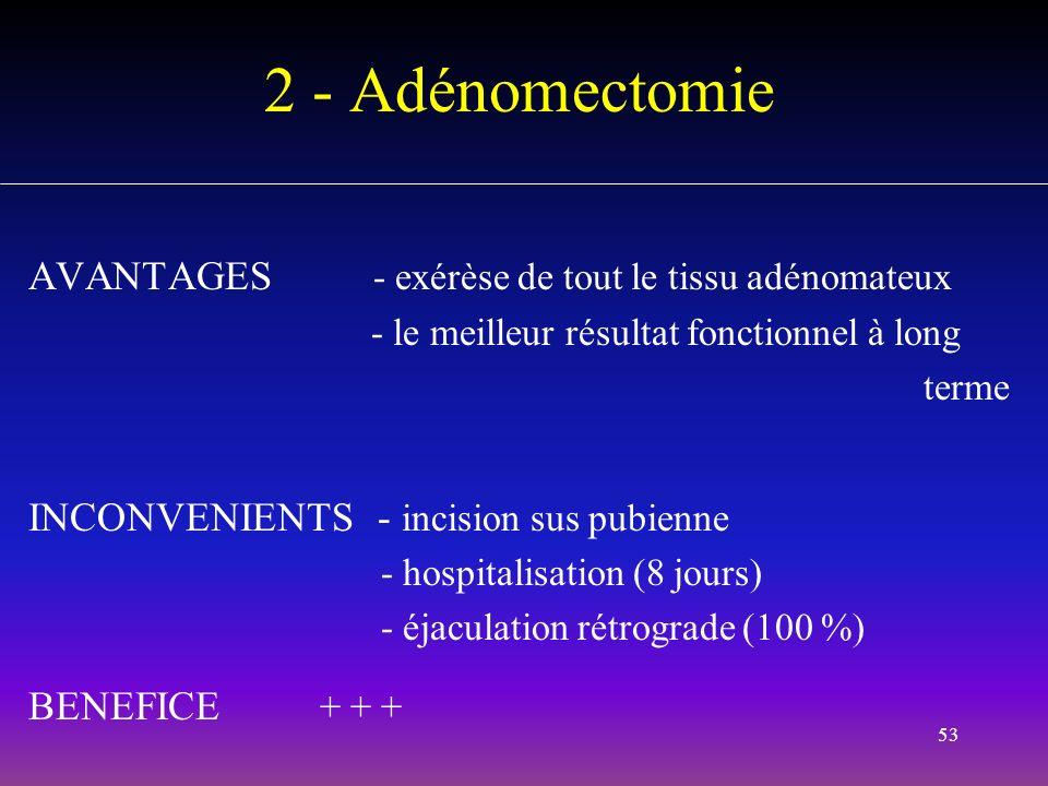 53 2 - Adénomectomie AVANTAGES - exérèse de tout le tissu adénomateux - le meilleur résultat fonctionnel à long terme INCONVENIENTS - incision sus pub