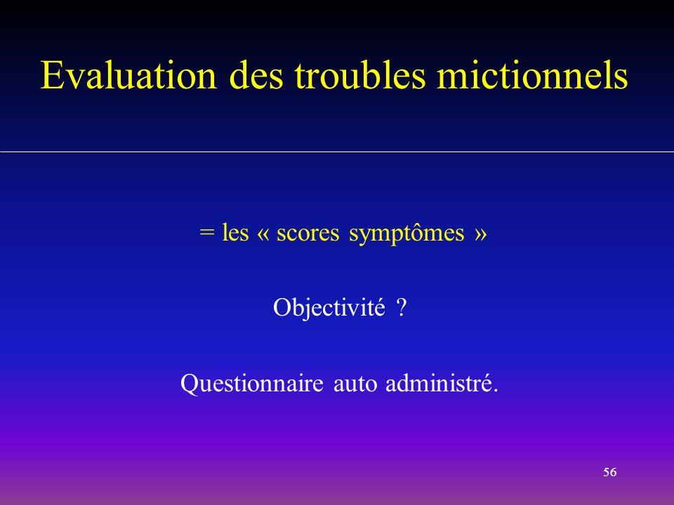 56 Evaluation des troubles mictionnels = les « scores symptômes » Objectivité ? Questionnaire auto administré.